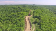 WS AERIAL View over Chesapeake Energy gas pipeline in Wetzel County / Littleton, West Virginia, United States
