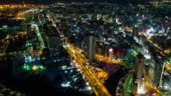 WS T/L HA View over city with busy streets at night / Yokohama, Kanagawa, Japan