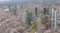 WS AERIAL View over commercial buildings in city / Frankfurt Main, Hesse, Germany