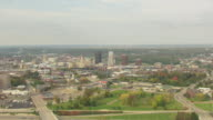 WS AERIAL View over downtown buildings / Akron, Ohio, United States