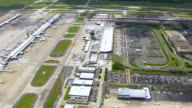 WS AERIAL POV View over Dulles International Airport station / Washington DC, United States