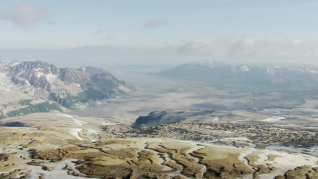 WS AERIAL PAN View over glacier valley in Katmai National Park / Alaska, United States