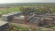 WS AERIAL View over Goodyear factory building / Akron, Ohio, United States