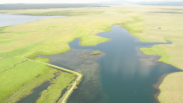 WS AERIAL View over green landscape and lake / Wyoming, United States