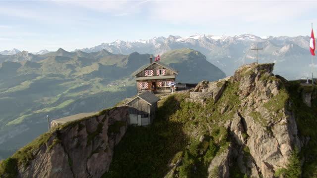 WS AERIAL View over Grosser Mythen and restaurant on summit with Uri Alps and Lake Lucerne / Grosser Mythen, Schwyz, Switzerland