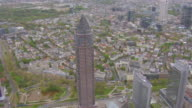 WS AERIAL View over Messeturm and other buildings / Frankfurt Main, Hesse, Germany