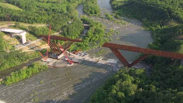 WS AERIAL View over New Shenandoah River Bridge construction in Jefferson County / West Virginia, United States