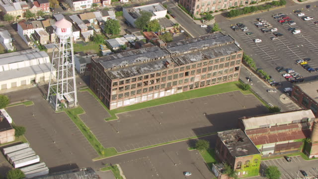WS AERIAL View over old building at Roebling Complex / Trenton, New Jersey, United States