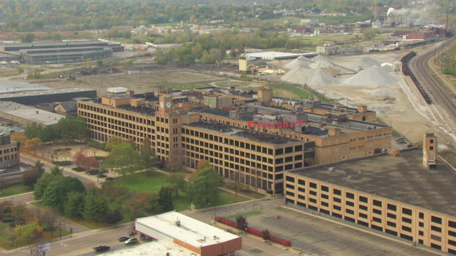 WS DS AERIAL View over old Firestone factory building / Akron, Ohio, United States