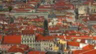 View over old town Baixa with Elevator de Santa Justa, Lisbon, Portugal