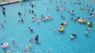 WS TD AERIAL View over people enjoying at Hangang River outdoor pool / Seoul, South Korea