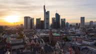 View over Romer Square towards the Skyline of Frankfurt, Frankfurt am Main, Hesse, Germany, Europe