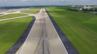 WS AERIAL POV View over runway at Dulles International Airport station / Washington DC, United States