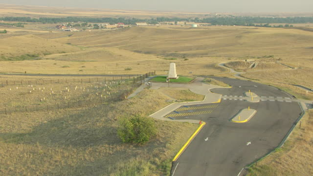 WS AERIAL View over seventh Cavalry Memorial at Little Bighorn Battlefield / Crow Agency, Montana, United States