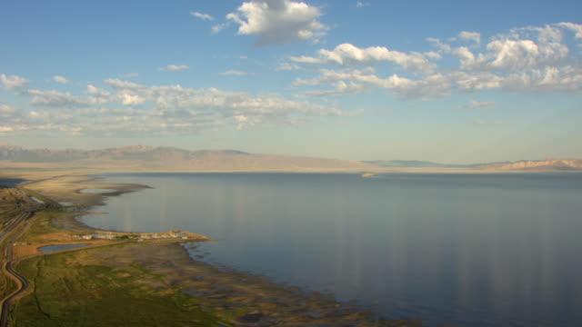 WS AERIAL View over shore line at Great Salt lake / Utah, United States
