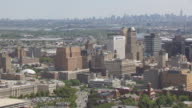WS AERIAL TS TU View over Springfield avenue and Jones Street to downtown with Manhattan in in distance / Newark, New Jersey, United States