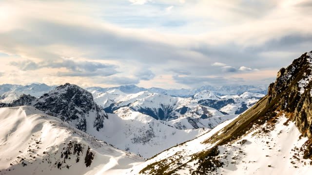 View over the European Alps in Winter