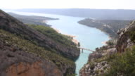View over the Gorges du Verdon in Provence France with its turquoise river and the bridge over the lake Lac de SainteCroix
