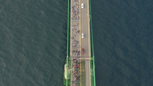 MS AERIAL View over top of Mackinac Bridge / Michigan, United State