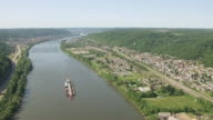 WS AERIAL View over town and Ohio River in Ohio County / Wheeling, West Virginia, United States