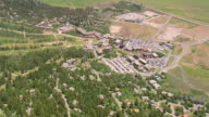 WS AERIAL View over town Jackson and ropeway / Wyoming, United States