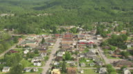 WS TD AERIAL View over town of Parsons and Tucker County Courthouse and Jail in Tucker County / West Virginia, United States
