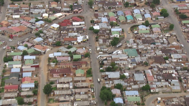 WS AERIAL ZI View over township / Gauteng, South Africa