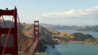 WS DS AERIAL View over Traffic on Golden Gate Bridge / San Francisco, California, United States
