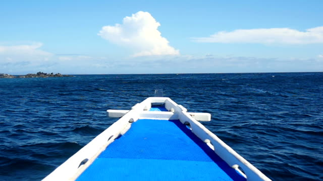 View past bow of boat, tropics