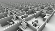B/W CGI HA view past hundreds of identical gray office cubicles