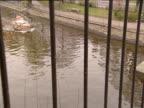 View through bridge railings of small speedboat sailing down canal creating wake Berlin