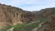 WS AERIAL View through canyon walls at Nine mile canyon / Utah, United States
