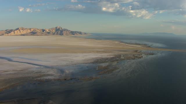 WS AERIAL PAN View to Stansbury Island at Great Salt lake / Utah, United States