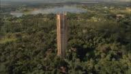 AERIAL WS View toward Bok Tower above botanical garden / Lake Wales, Florida, USA