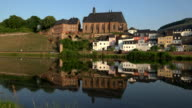 View towards Church of St. Lawrence in Saarburg on River Saar, Saarburg, Rhineland-Palatinate, Germany
