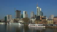 View towards Main River to Financial District, Frankfurt am Main, Hesse, Germany