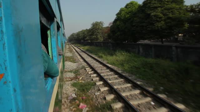 WS POV Views from moving train / Rangoon, Yangon, Myanmar
