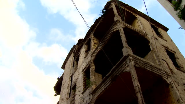 Views of a building destroyed during the Lebanese civil war