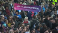 Views of a candlelight vigil in Trafalgar square for victims of the Westminster terror attack