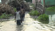 Views of a flooded village in Bihar north east India
