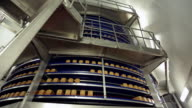 Views of a large rotating cooling tower filled with loaves of bread in a bread factory