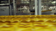 Views of bread loaves moving along a production line in a factory