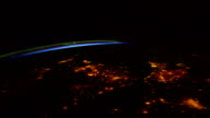 / views of city lights over Europe as seen from the International Space Station / passes over Ireland and the United Kingdom with the Aurora Borealis...