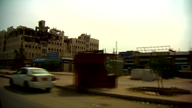 Views of destroyed buildings in the Yemeni city of Aden