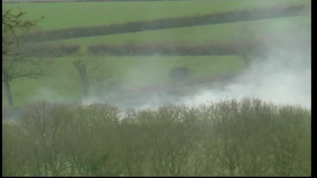 Views of farm during Foot Mouth crisis ENGLAND Devon Burning pyre of infected livestock / cloud of smoke over fields / Royal Mail van parked at side...