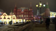Views of festive lights and decorations around the Kremlin on New Years eve