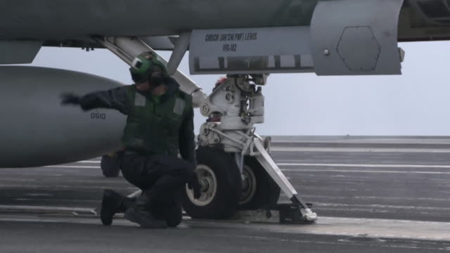 Views of fighter jets landing and taking off from the USS Ronald Reagan in the Sea of Japan