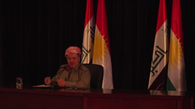 Views of Masoud Barzani speaking at a press conference ahead of the referendum on Kurdish independence from Iraq September 2017 [no sound] NNBY446R...