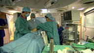 Views of surgeons and surgical equipment as an operation is performed