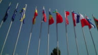 Views of the EU member state flags outside the EU summit in Bratislava Slovakia with the UK flag missing